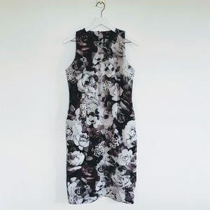 ASOS | Grayscale High V-Neck Floral Dress - Sz 8